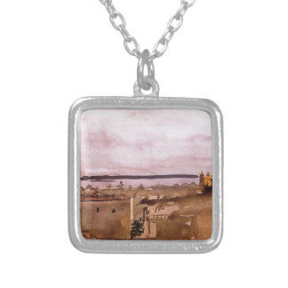 View of Naples by Edgar Degas Silver Plated Necklace