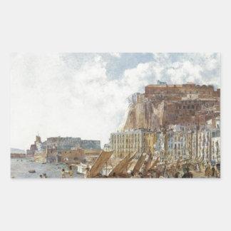 View of Naples by Rudolf von Alt Rectangular Sticker
