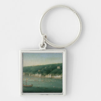 View of Naples from the east, 1730 Silver-Colored Square Keychain