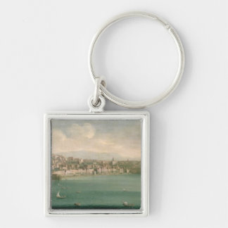 View of Naples from the west, 1730 Silver-Colored Square Keychain