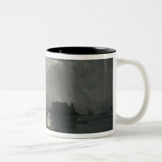 View of Naples in Moonlight, 1829 Two-Tone Coffee Mug