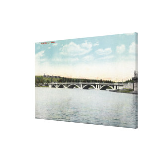View of New Lake Quinsigamond Bridge Canvas Print