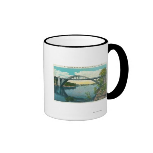 View of New Suspension Bridge Ringer Coffee Mug
