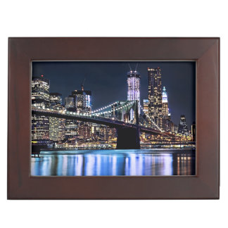 View of New York s Brooklyn bridge reflection Memory Boxes
