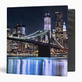 View of New York's Brooklyn bridge reflection Vinyl Binder