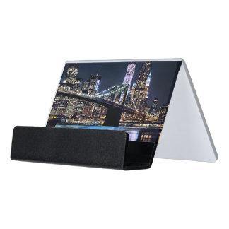 View of New York's Brooklyn bridge reflection Desk Business Card Holder