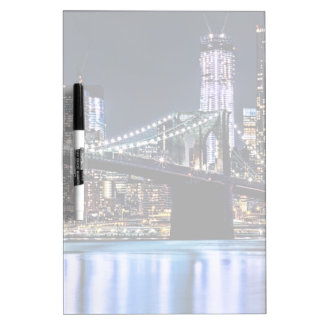 View of New York's Brooklyn bridge reflection Dry-Erase Board