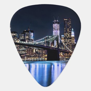 View Of New York's Brooklyn Bridge Reflection Guitar Pick by iconicnewyork at Zazzle