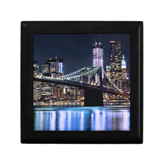 View of New York's Brooklyn bridge reflection Jewelry Box