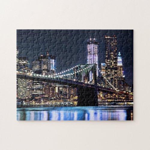 View of New Yorks Brooklyn bridge reflection Jigsaw Puzzle