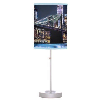 View of New York's Brooklyn bridge reflection Desk Lamp