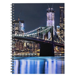 View of New York's Brooklyn bridge reflection Note Book