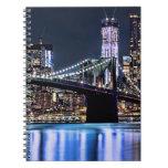 View of New York's Brooklyn bridge reflection Spiral Notebook