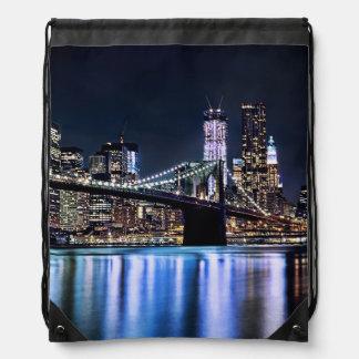 View of New York's Brooklyn bridge reflection Drawstring Bags