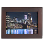 View of New York's Brooklyn bridge reflection Memory Boxes