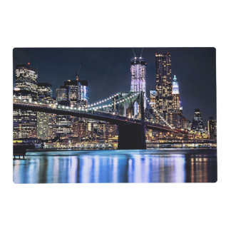 View of New York's Brooklyn bridge reflection Placemat