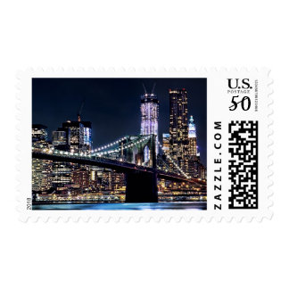View of New York's Brooklyn bridge reflection Postage
