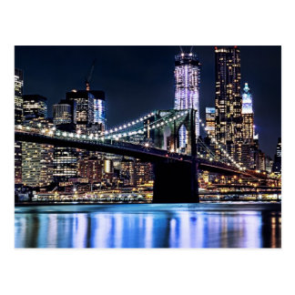 View of New York's Brooklyn bridge reflection Postcard