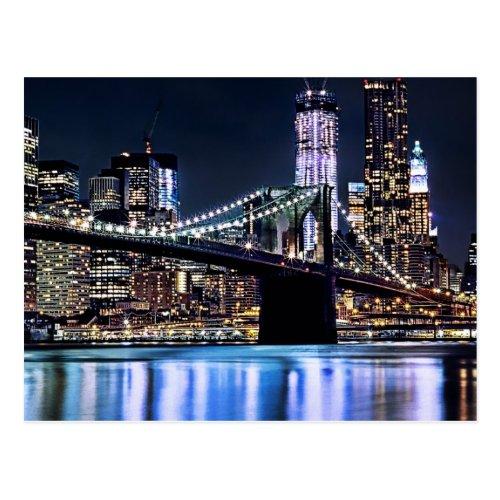 View of New Yorks Brooklyn bridge reflection Postcard