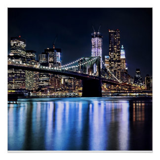 View of New York's Brooklyn bridge reflection Poster