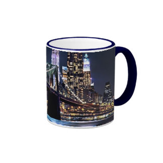 View of New York's Brooklyn bridge reflection Ringer Mug