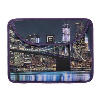 View of New York's Brooklyn bridge reflection Sleeve For MacBooks