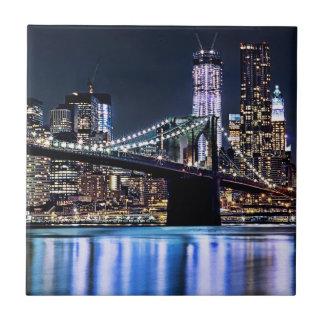 View of New York's Brooklyn bridge reflection Tile