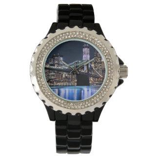 View of New York's Brooklyn bridge reflection Wrist Watch