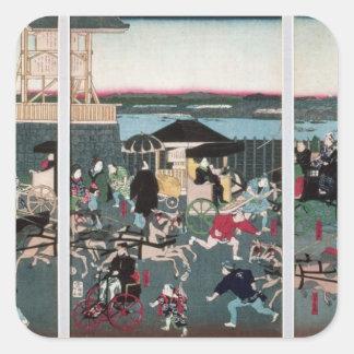 View of Nihonbashi in Tokyo, c.1870 Square Sticker