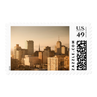 View of Nob Hill in San Francisco, with the fog Postage Stamp