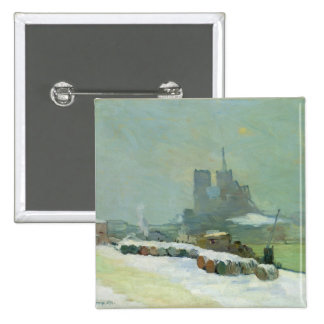 View of Notre Dame, 1894 (oil on canvas) 2 Inch Square Button