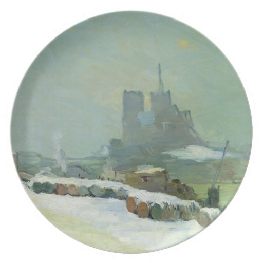 View of Notre Dame, 1894 (oil on canvas) Party Plates