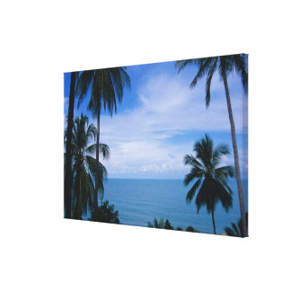 View of ocean horizon from land canvas print