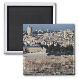 View of Old City from Mount of Olives, Jerusalem, 2 Inch Square Magnet