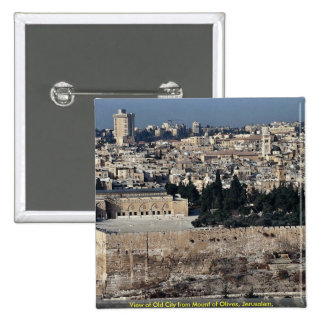 View of Old City from Mount of Olives, Jerusalem, Button