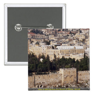 View of Old City from the Mount of Olives, Jerusal Button