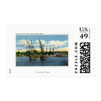 View of Old Shipwrecks in the Harbor Postage