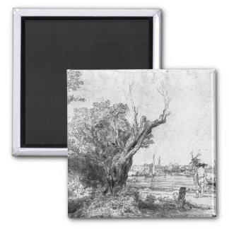 View of Omval, near Amsterdam, 1645 2 Inch Square Magnet