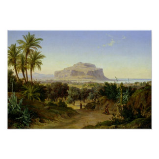 View of Palermo with Mount Pellegrino Poster