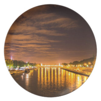 view of paris france at night and the Seine river Dinner Plate