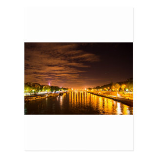 view of paris france at night and the Seine river Postcard