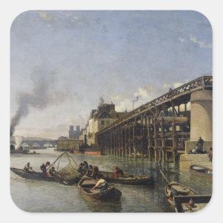View of Paris, the Seine or l'Estacade, 1853 Square Sticker