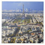 View of Paris with Eiffel Tower and La Defence Large Square Tile