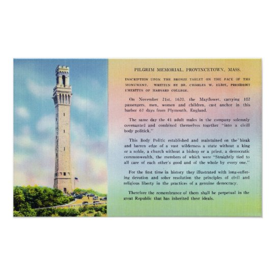 View of Pilgrim Memorial and Brief Information Poster