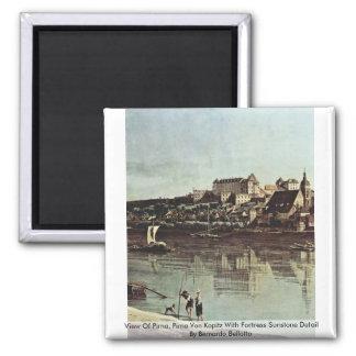 View Of Pirna, Pirna Von Kopitz 2 Inch Square Magnet