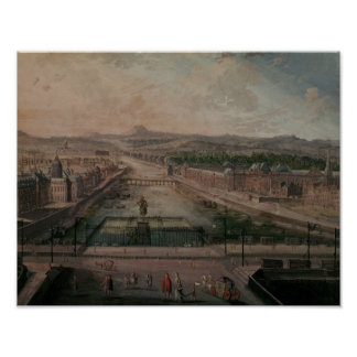 View of Place Dauphine and the Seine Print