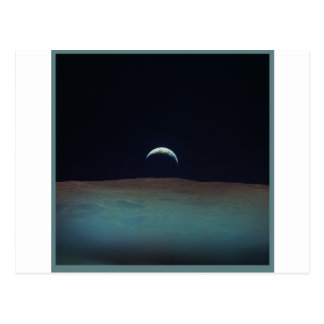 View of planet earth from the moon postcard