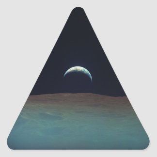 View of planet earth from the moon triangle sticker