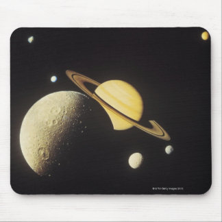 view of planets in the solar system mouse pad