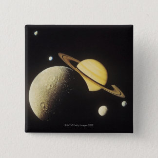 view of planets in the solar system pinback button